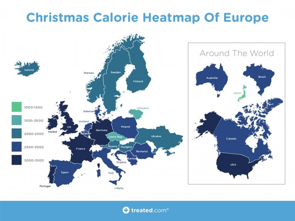 クリスマスの食事、世界別のカロリー